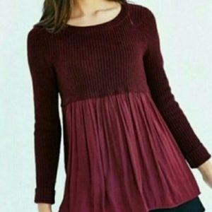 UO Kimchi Blue Maroon Baby Doll Sweater Sm